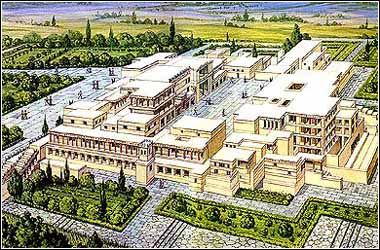 ARTIST'S IMPRESSION OF THE PALACE OF KNOSSOS